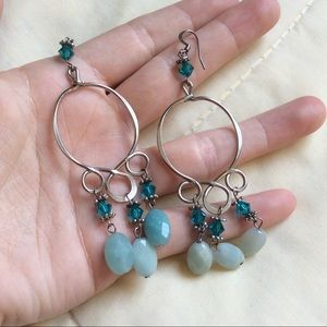 Long Mermaid Jingle Teal Aqua Stone Hoops Earrings